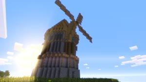 Eine mittelalterliche Mühle in Minecraft