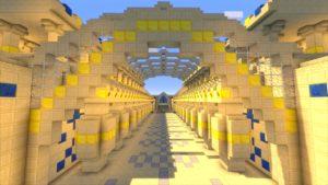 Ein Wüsten-Tempel in Minecraft.
