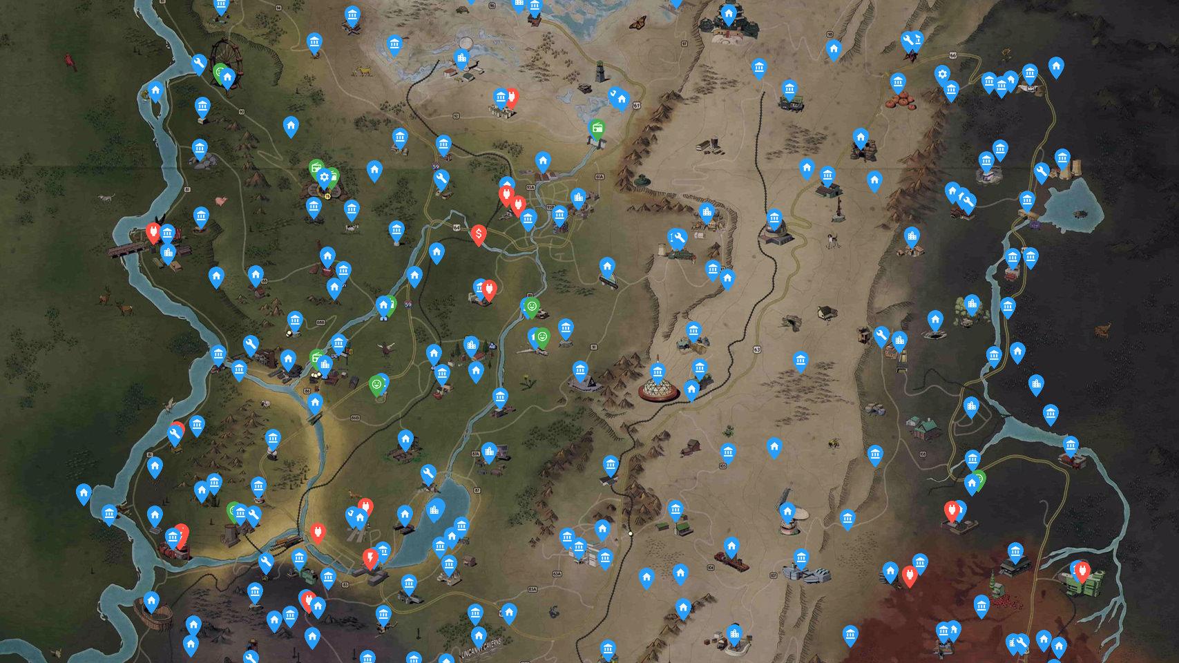 Fallout 76 Karte Deutsch.Fallout 76 Interaktive Appalachia Karte Survival Sandbox De