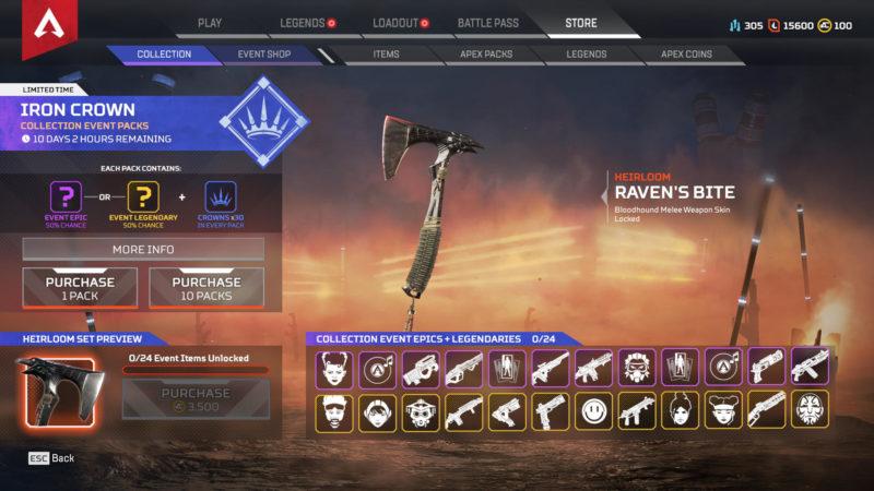 Apex Legends Iron Crown Event Skins Änderungen