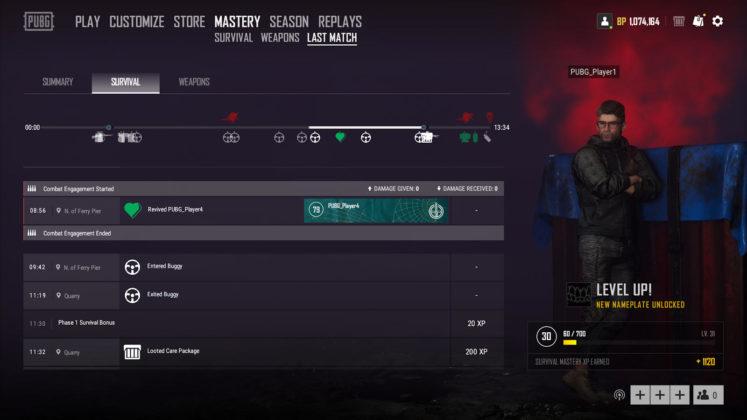 PUBG Letztes Spiel Bildschirm