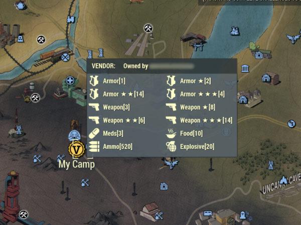Fallout 76 - Spieler-Shop Informationen