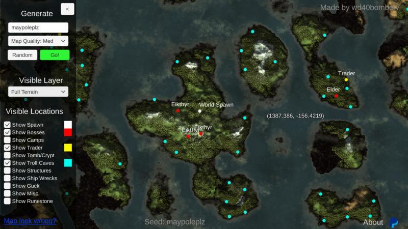 Valheim Weltgenerator - World Seed - dynamische Map