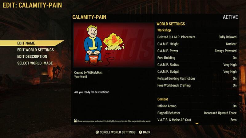 Fallout 76 - Worlds - Servereinstellungen
